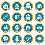 Wedding icons set, simple style. Wedding icons set. Simple illustration of 16 wedding vector icons for web royalty free illustration