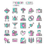Wedding icons set. In thin line style.  on white background Royalty Free Stock Photos