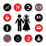 Wedding icons set. Valentine's day and wedding icons set Stock Photography