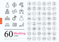 60 wedding icons. Set of wedding icons for web or services. 60 design honeymoon line icons high quality, vector illustration Stock Image