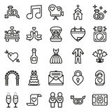 Wedding icons set on white background. Created For Mobile, Web, Decor, Print Products, Applications. Icon . Vector illustration Royalty Free Illustration