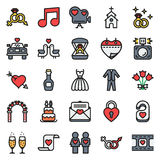 Wedding icons set on white background. Created For Mobile, Web, Decor, Print Products, Applications. Icon . Vector illustration Stock Photo