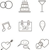 Wedding icons, thin black lines on white.  Stock Images