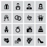 Wedding icons. Vector black wedding icons set on gray Stock Photography