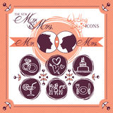 Wedding icons. Vector wedding day icons in hand drawn style Royalty Free Stock Images