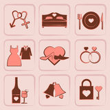 Wedding Icons vector set Stock Photos