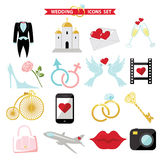Wedding  icons for Web and Mobile. Retro Vector Stock Photo