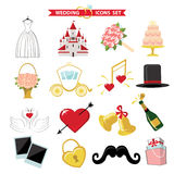 Wedding  icons for Web and Mobile. Retro Vector Stock Images