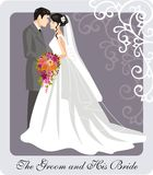 Wedding Illustration. Of a groom and his bride Royalty Free Stock Photography