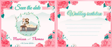 Wedding illustration card with blooming flowers and nature theme Royalty Free Stock Photography