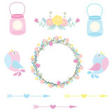 Wedding illustration with cute birds, flowers and bottles suitable for wedding sticker set and clip art. Wedding illustration with cute birds, flowers and Royalty Free Stock Photo