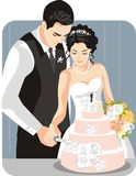 Wedding Illustration Series. Wedding illustration of a groom with his bride Royalty Free Stock Photography