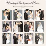 Wedding Illustration Series. A set of 12 wedding illustrations Royalty Free Stock Images