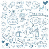 Wedding Doodles. Wedding illustrations drawn in a doodled style Royalty Free Stock Photo