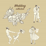 Wedding illustrations of a hand-drawn floral pattern and cute couples in retro style. Stock Image