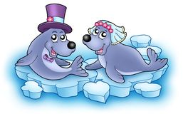 Wedding image with cute seals Stock Photography