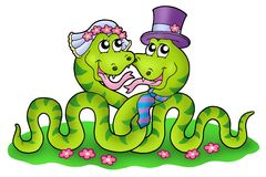 Wedding image with cute snakes Royalty Free Stock Photography
