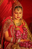 Wedding in India, lavish bride in jewellry. Royalty Free Stock Images