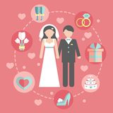 Wedding infographic set with Cartoon Bride and Stock Images