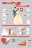 Wedding infographic set. Retro cartoon bride and Stock Photo
