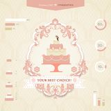 Wedding infographics. Set of icons and graphics for wedding infographics. Sleek design. Wedding cake. The bride and groom on a wedding cake. The best choice for Royalty Free Stock Image