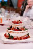 Wedding injer raspberry cake. On the table Royalty Free Stock Photography