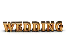 WEDDING inscription large golden letter Royalty Free Stock Photography