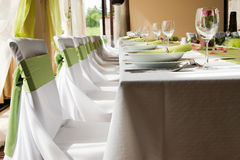 Wedding interior I. Wedding interior with table and chairs Stock Image