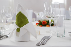 Wedding interior IX. Wedding table set with table napkin composition Stock Photos