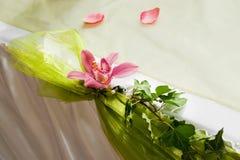 Wedding interior VI. Detail of wedding table set with rose Stock Photos