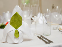Wedding interior XI. Wedding table set with table napkin composition Royalty Free Stock Photography