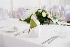 Wedding interior XII. Table set for a wedding dinner Stock Image