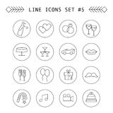 Wedding and intertainment line icons Stock Image