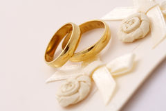 Wedding invitation. And two golden rings Stock Image