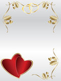Wedding invitation. A wedding invitation on silver with some  leafs and golden hearts, creating a border frame for invitation Royalty Free Stock Photo