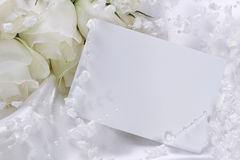 Wedding invitation. With white flowers stock photos