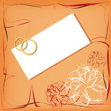 Wedding invitation. A wedding invitation with gold rings Stock Image
