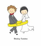 Wedding invitation. Just married in an engagement ring Stock Photography