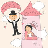 Wedding invitation. With funny bride in the tower and groom vector illustration