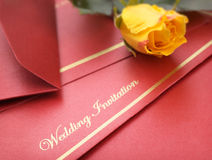 Wedding Invitation. With rose.  Shallow DOF Royalty Free Stock Images