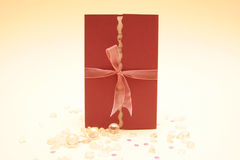 Wedding invitation. With ribbon and pearls Royalty Free Stock Photo