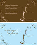 Wedding Invitation. Wedding panels with flowers and cake with topper that can be used for invitations or stationary-vector format as eps file Royalty Free Stock Images