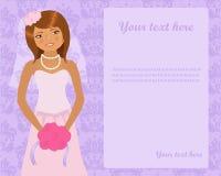 Wedding invitation. Adorable bride on a wedding invitation Stock Image