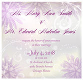 Wedding invitation with abstract flowers background Royalty Free Stock Photography