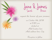 Wedding invitation with abstract flowers Royalty Free Stock Photo