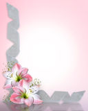 Wedding invitation Amaryllis pink Border Stock Images
