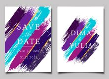 Wedding invitation or anniversary card templates. With brush strokes. Creative greeting card design vector illustration. Hand drawn artistic textured background royalty free illustration