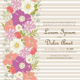 Wedding invitation or announcement card with beautiful hand drawn flowers Royalty Free Stock Photography