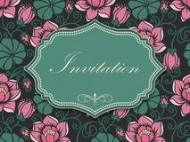 Wedding invitation and announcement card with floral background artwork. Elegant ornate floral background. Stock Photo