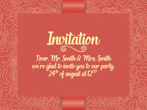 Wedding invitation and announcement card with ornament in Arabian style. Arabesque pattern. Eastern ethnic ornament. Royalty Free Stock Image